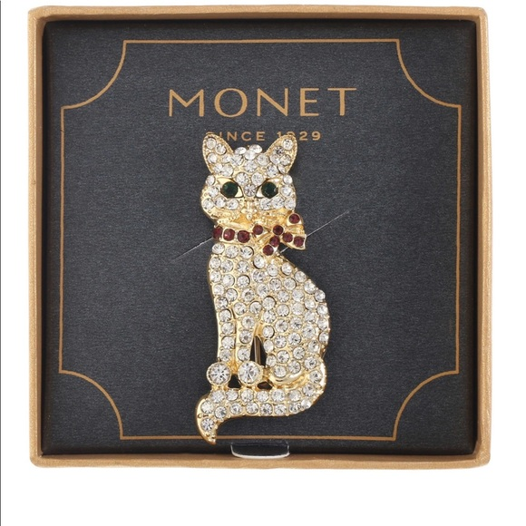 Monet Jewelry Monet Crystal Cat Pin